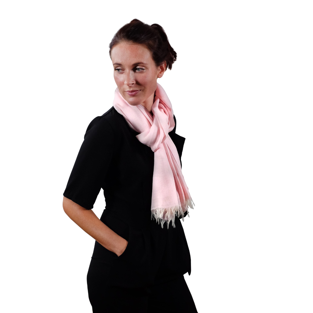 Blush pink fine wool scarf for her