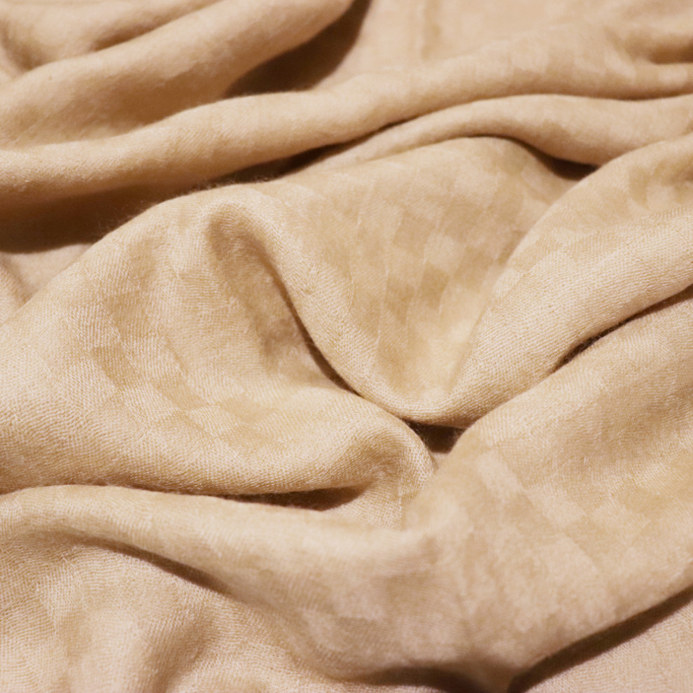 e4daa8bf4 Checkered gold cashmere scarf material details · Biodegradable packaging  from Elephant Cross