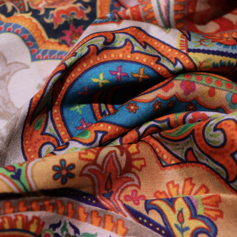 Colours of orient silk scarf material details