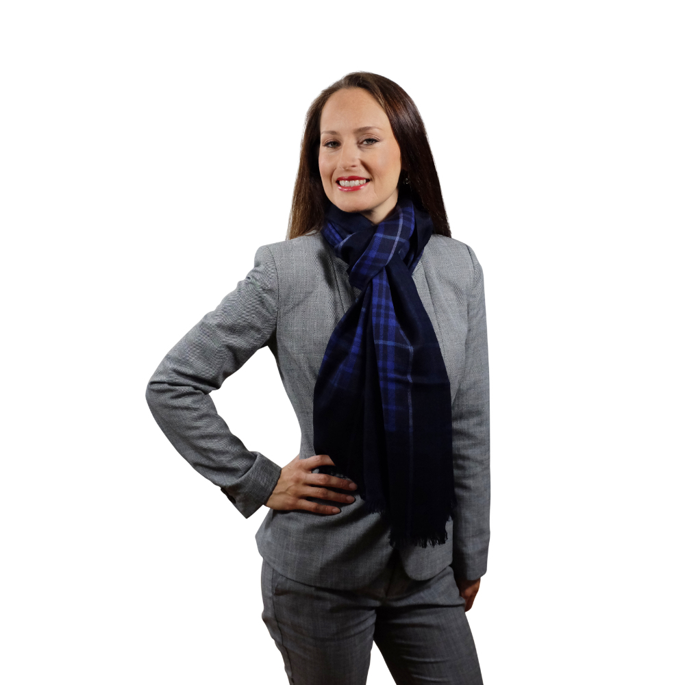 Electric blue fine wool & cotton scarf for her