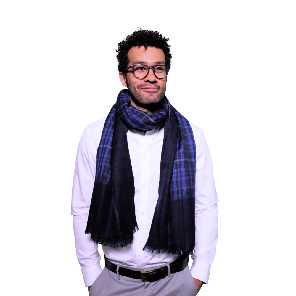 Electric blue fine wool & cotton scarf for him