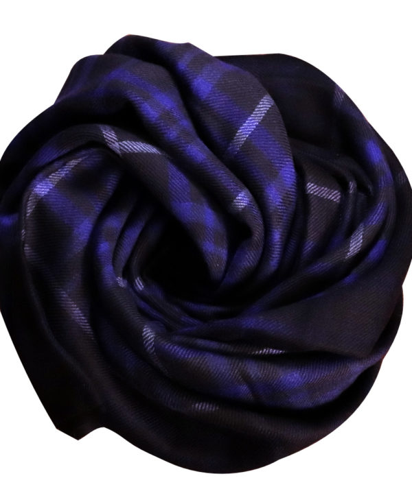 Electric blue fine wool & cotton scarf rose
