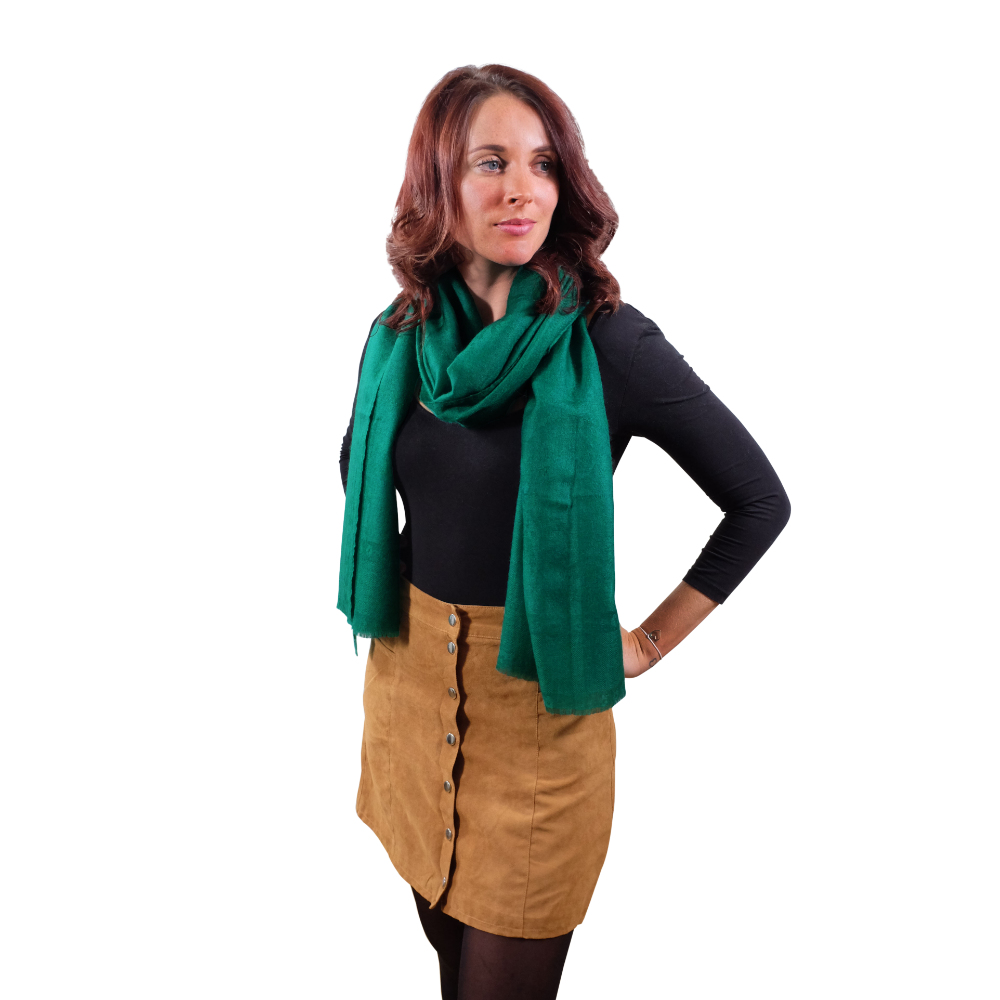 Emerald green cashmere scarf for her