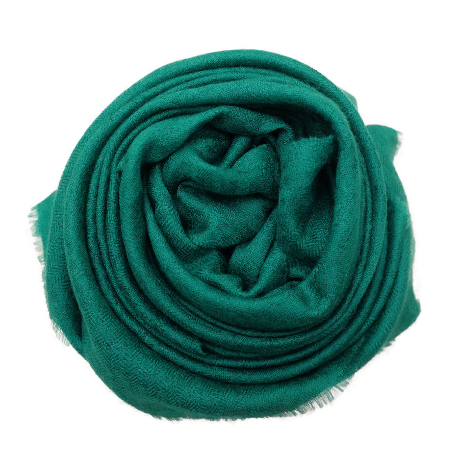 Emerald green cashmere scarf rose