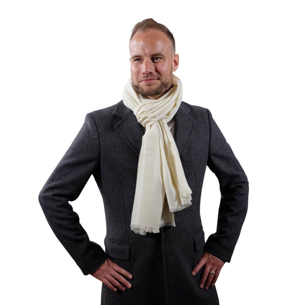 Handmade ivory fine wool & silk scarf for him