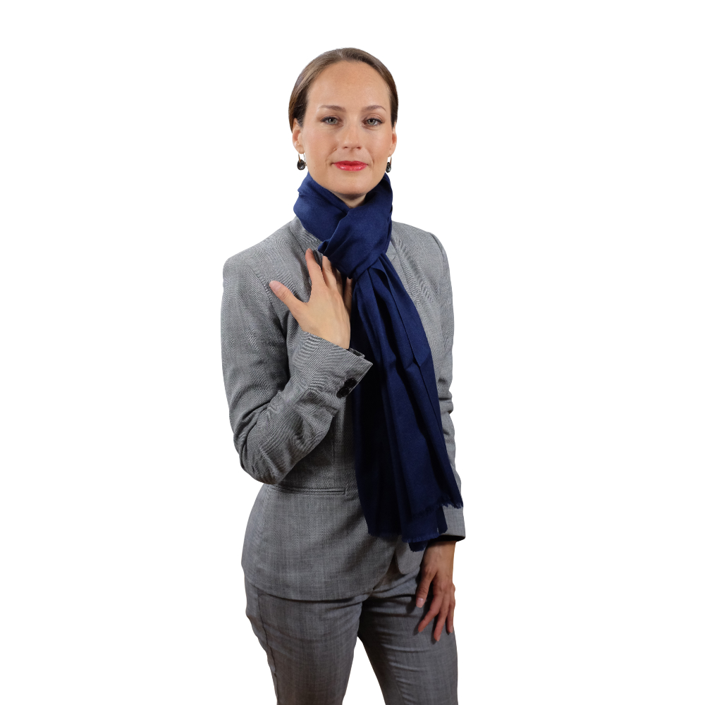 Handmade midnight blue cashmere & fine wool scarf for her