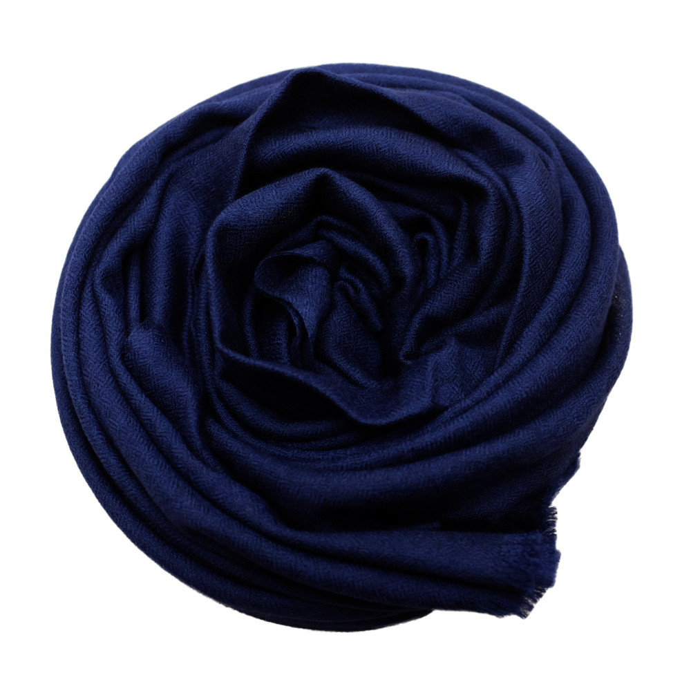 Handmade midnight blue cashmere & fine wool scarf rose