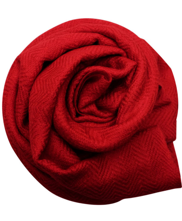 Handmade ruby red fine wool & silk scarf rose