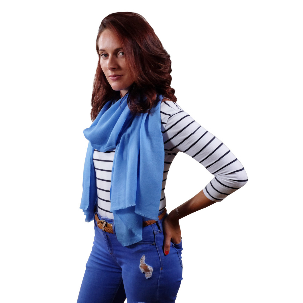 Handmade sky blue cashmere & fine wool scarf for her