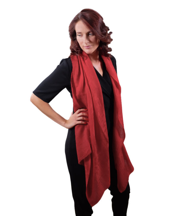 Imperial red cashmere scarf for her