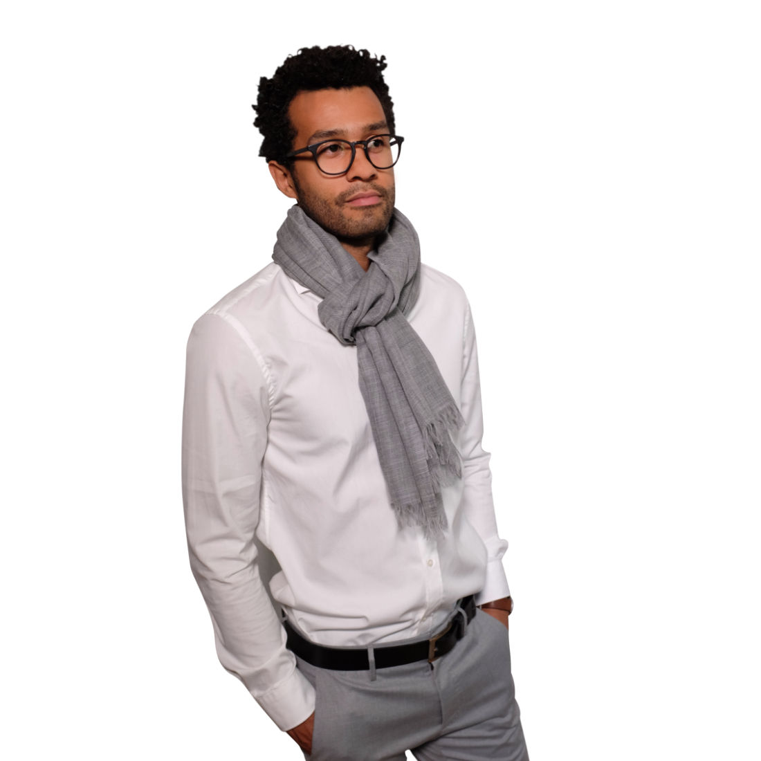 Koala grey fine wool scarf for him