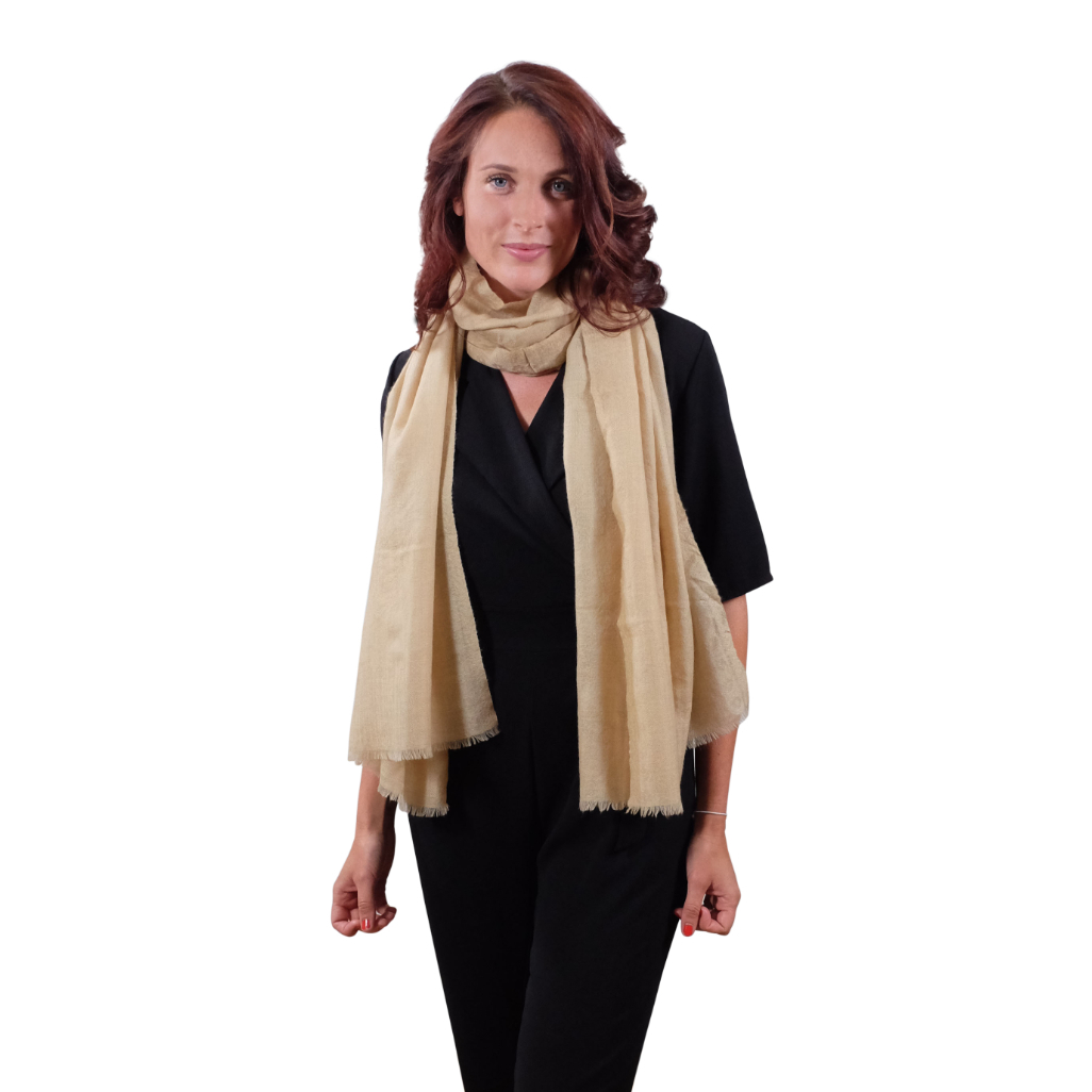 Muted gold cashmere scarf for her