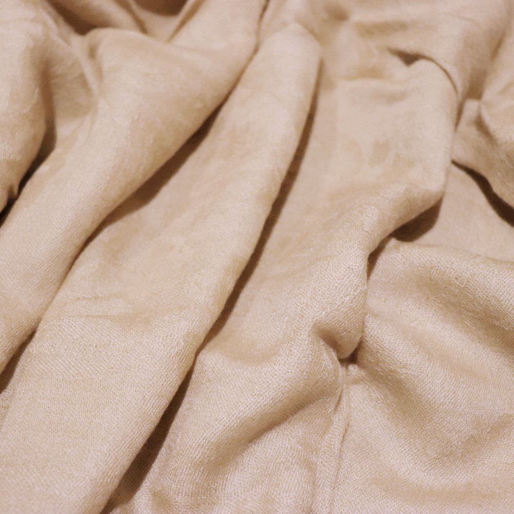 Muted gold cashmere scarf material details