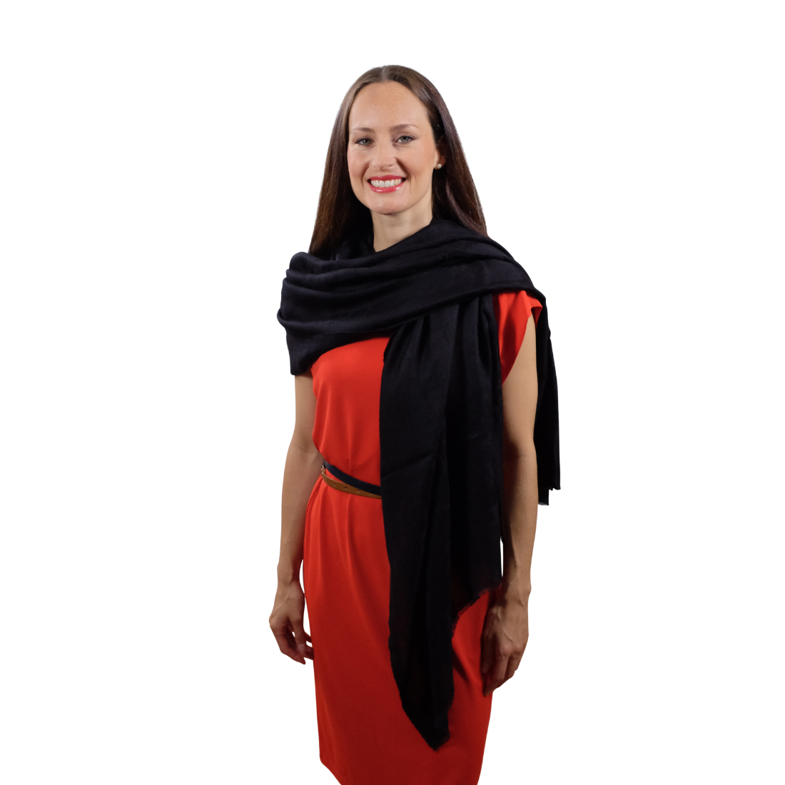 Obsidian black cashmere scarf for her