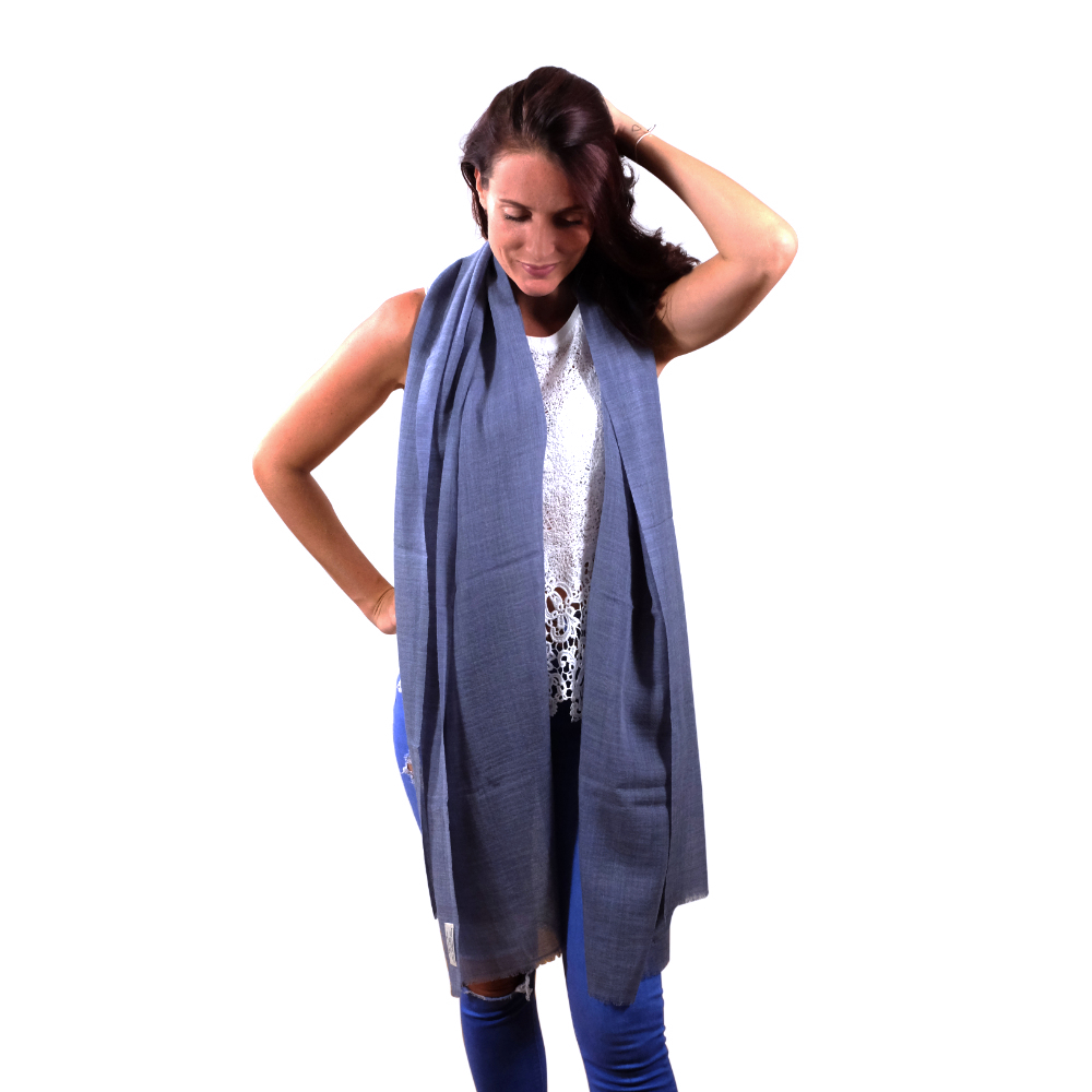 Ocean blue fine wool scarf for her