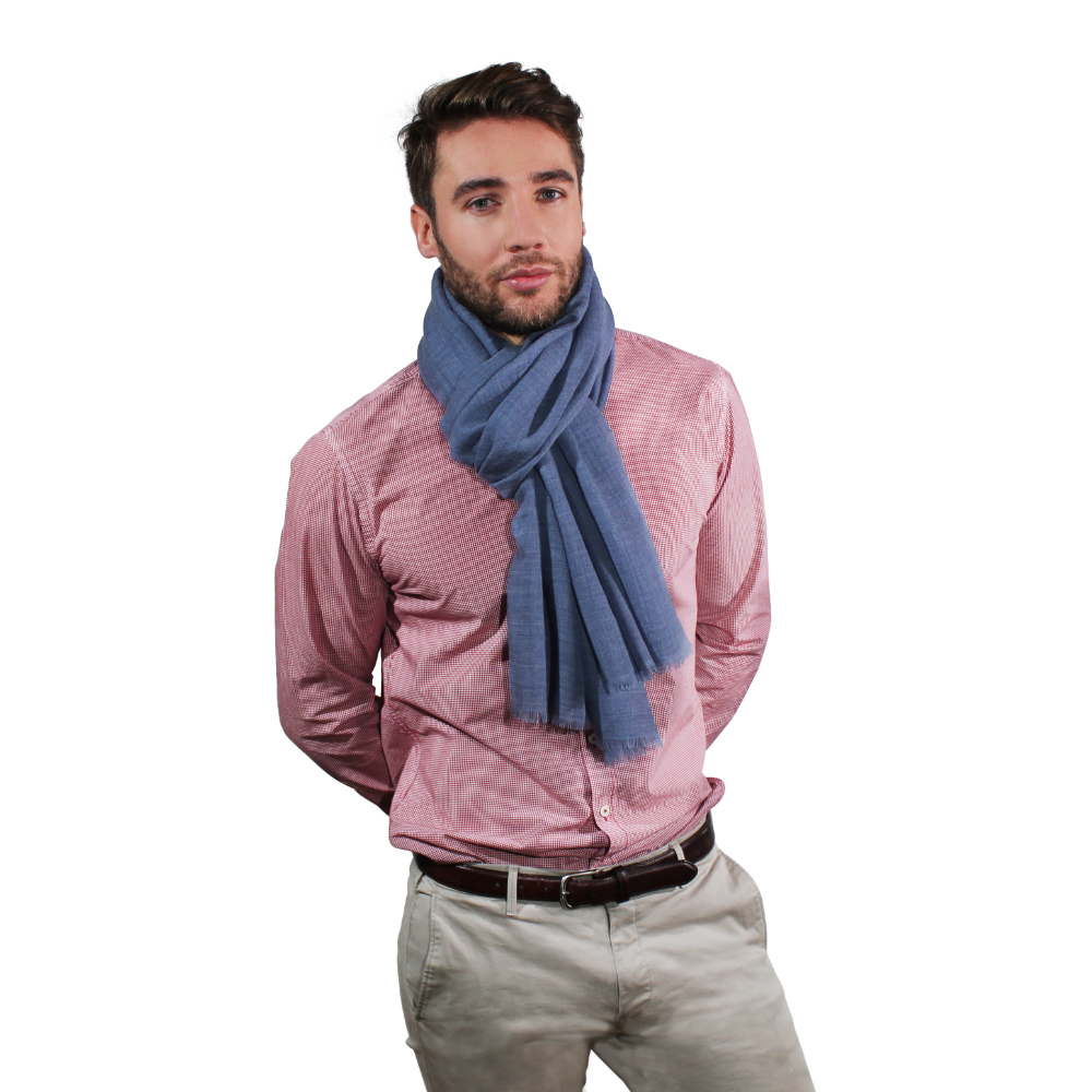 Ocean blue fine wool scarf for him