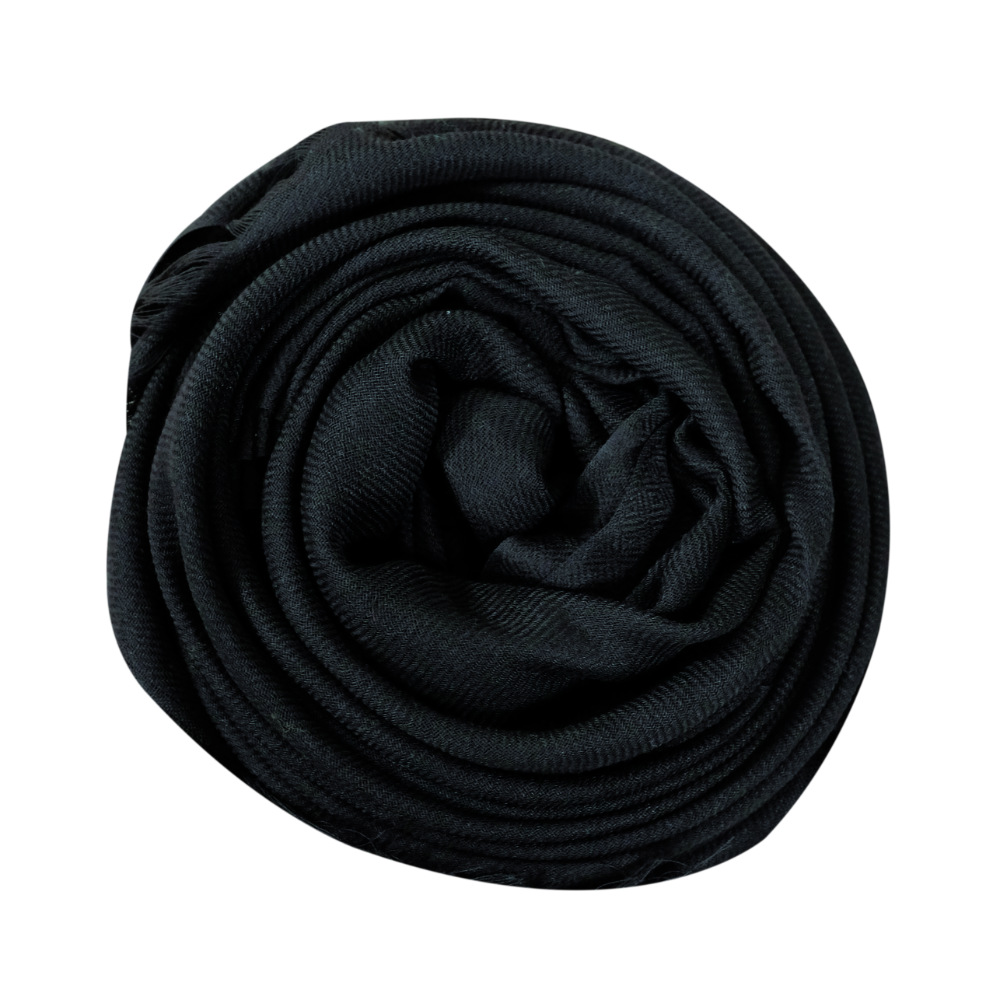 Onyx black fine wool scarf rose