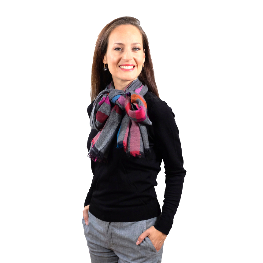 Pink meets grey fine wool scarf for her