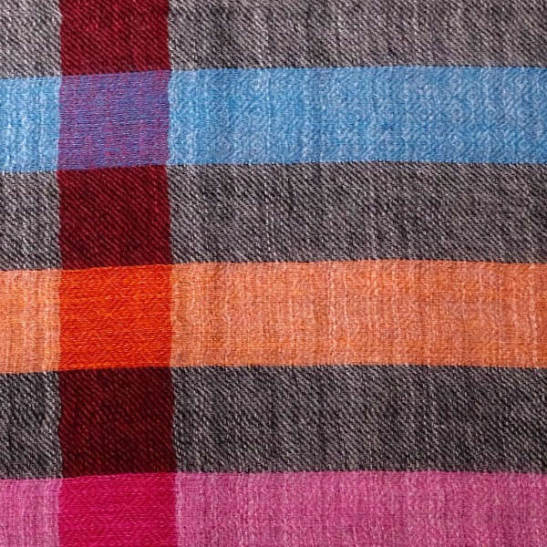 Pink meets grey fine wool scarf material details