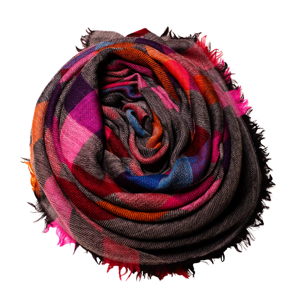 Pink meets grey fine wool scarf rose