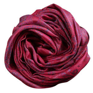 Scarlet red oriental silk scarf rose