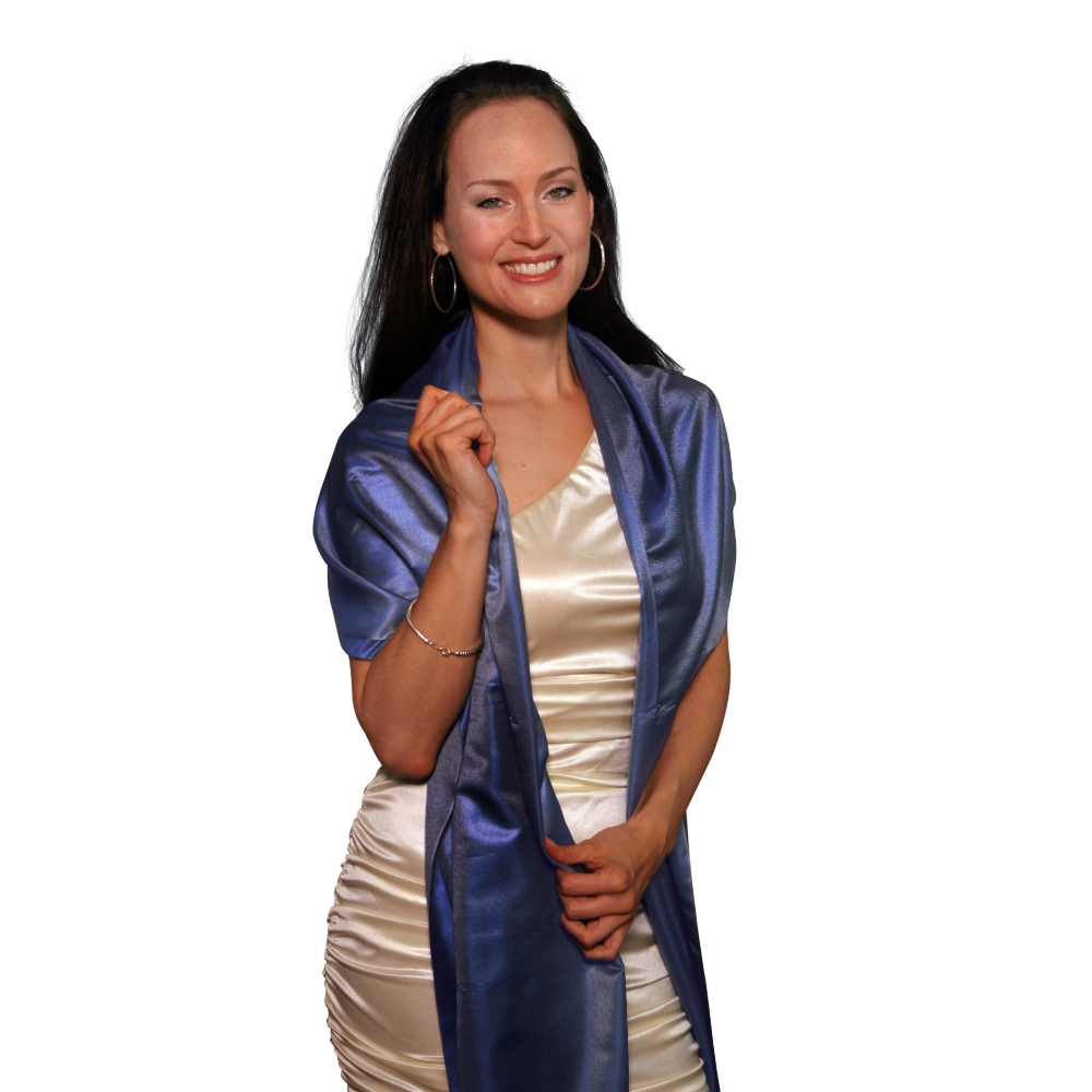 Shades of blue silk scarf for her