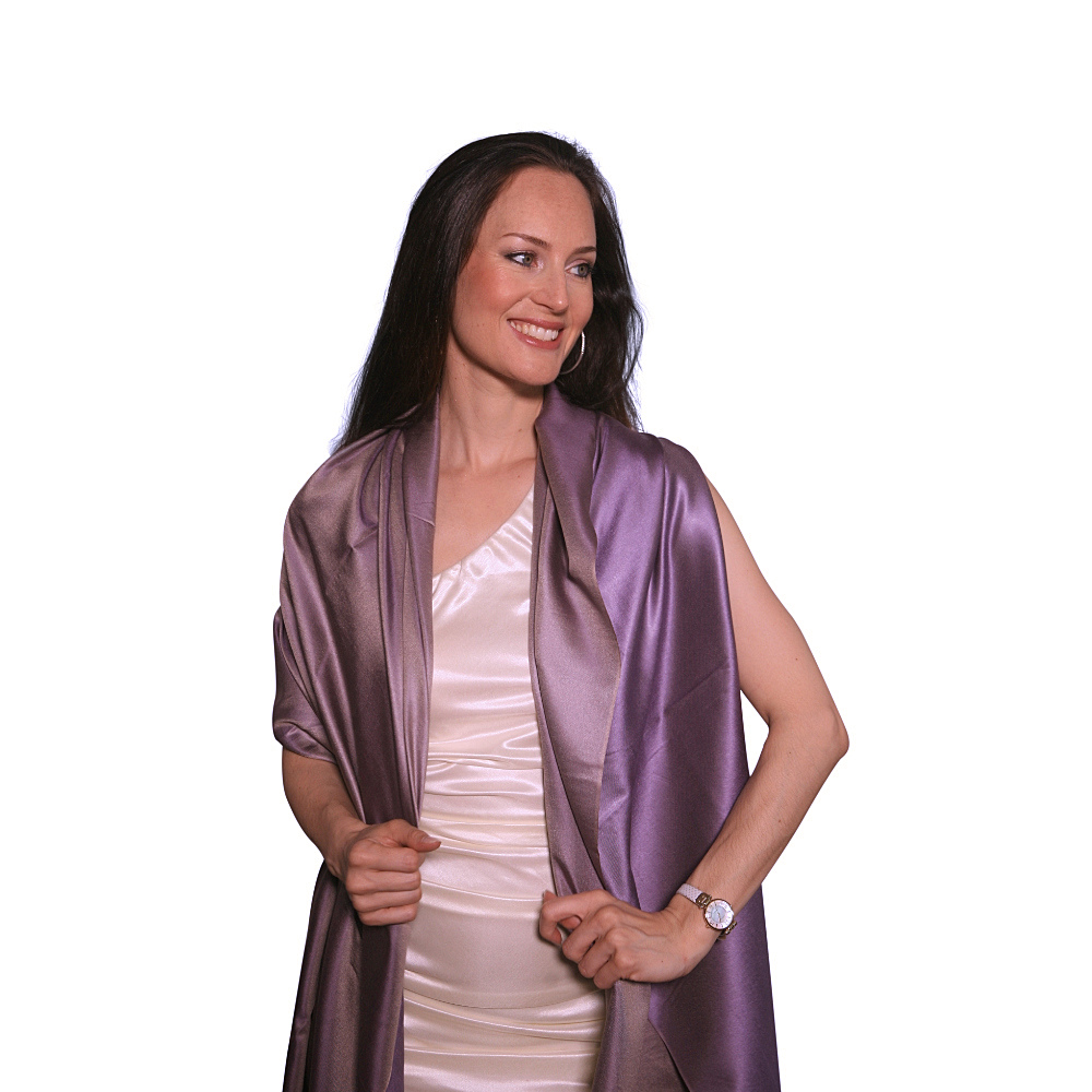 Shades of lavender silk scarf for her