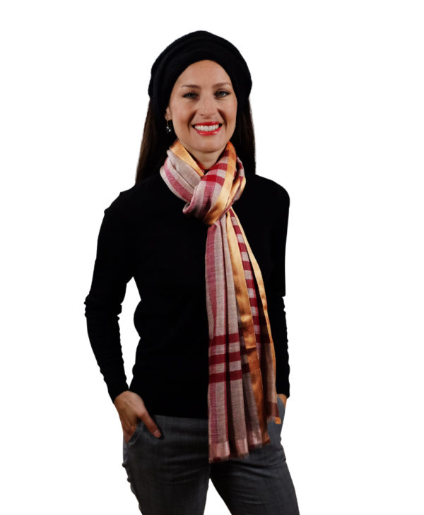 Sunset red fine wool & silk scarf for her