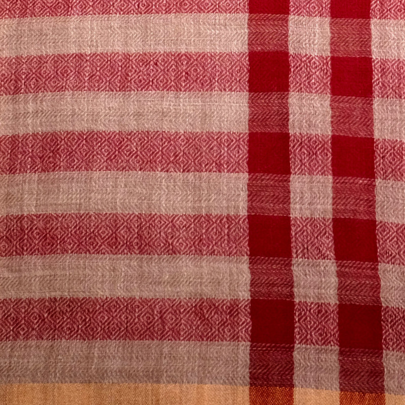 Sunset red fine wool & silk scarf material details
