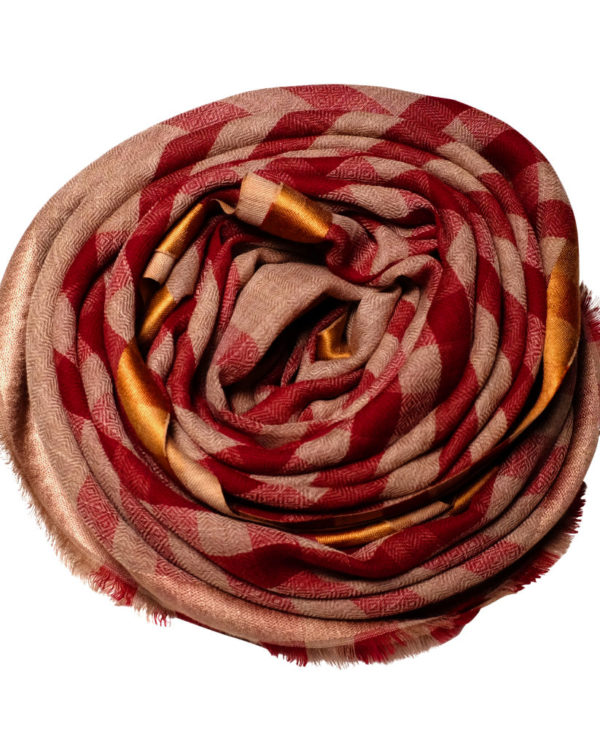 Sunset red fine wool & silk scarf rose