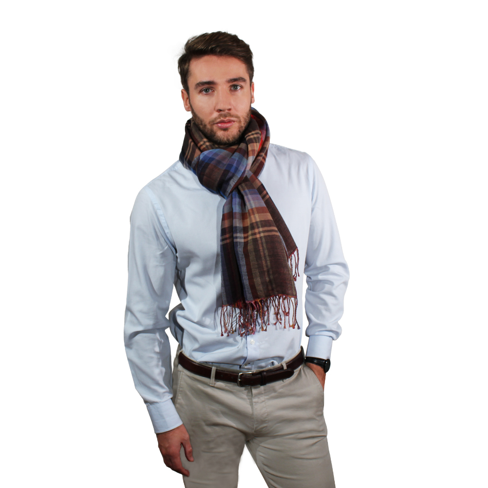 Two sided fine wool & cotton scarf for him