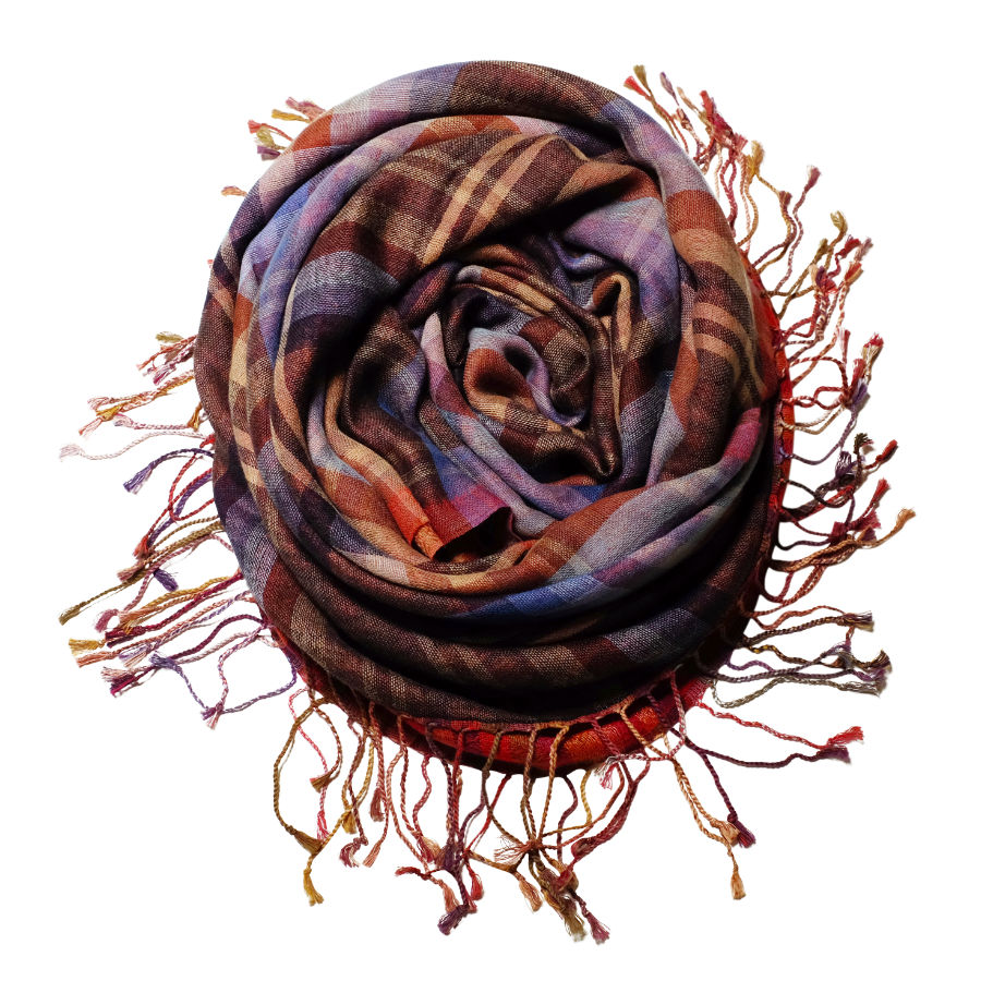 Two sided fine wool & cotton scarf rose