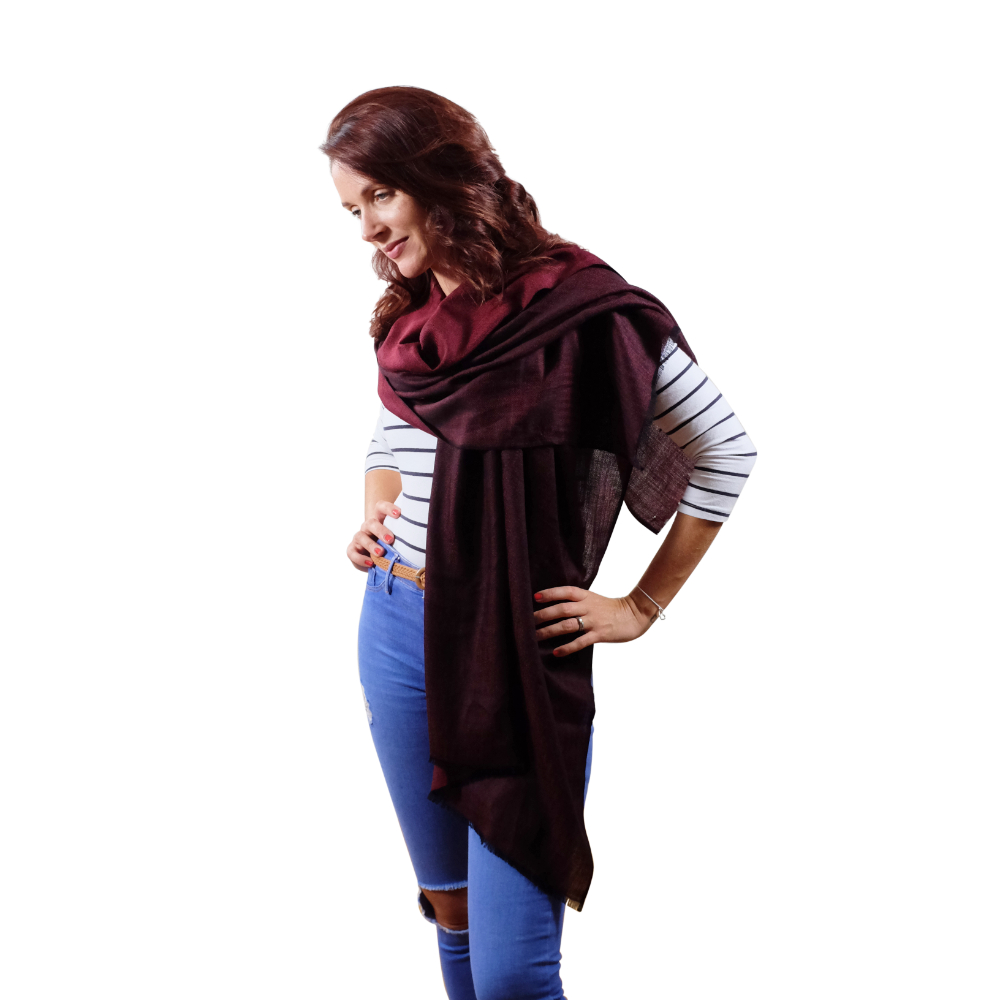 Wine red fine wool scarf for her